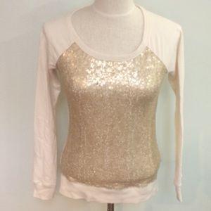 Cream gold bling sequin crew sweatshirt sweater
